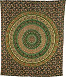 Cultural Intrigue Luna Bazaar Ishana Elephant Mandala Tapestry, Bohemian Wall Hanging and Bedspread (Large, 7 X 8 Feet, Green and Navy Blue, 100% Cotton, Fair Trade Certified)