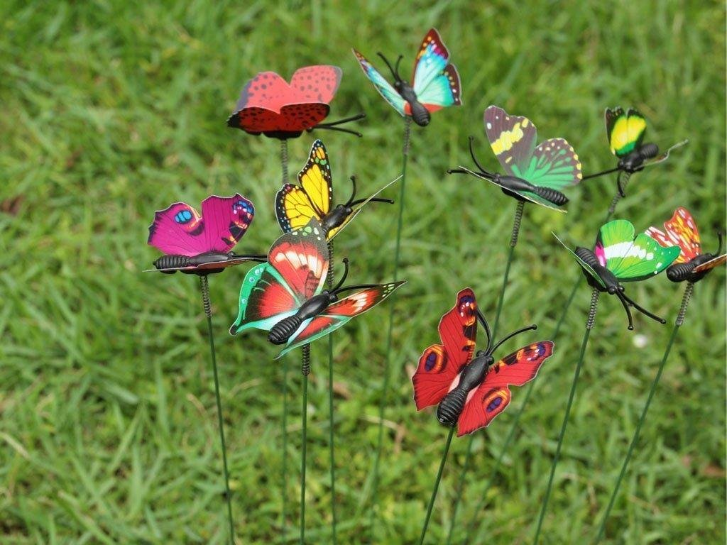 Amazon.com: 10 Pack Colourful Garden Butterflies On Sticks Miniature ...