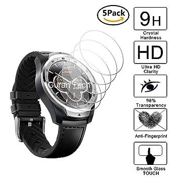 Guran [5-Unidades] Protector de Pantalla Vidrio Cristal Templado para Ticwatch Pro Bluetooth Smart Watch Smartwatch Cristal Vidrio Templado Film (9H, ...