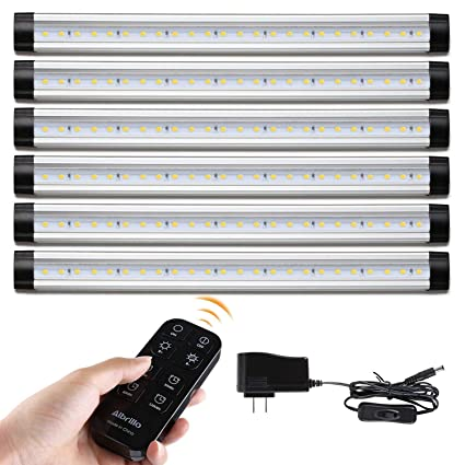 official photos 5579f 38774 Albrillo LED Under Counter Lighting Remote Control and Timer, 2000lm  Dimmable LED Under Cabinet Lights for Kitchen Shelf Desk, Warm White 3000K  6 PCS