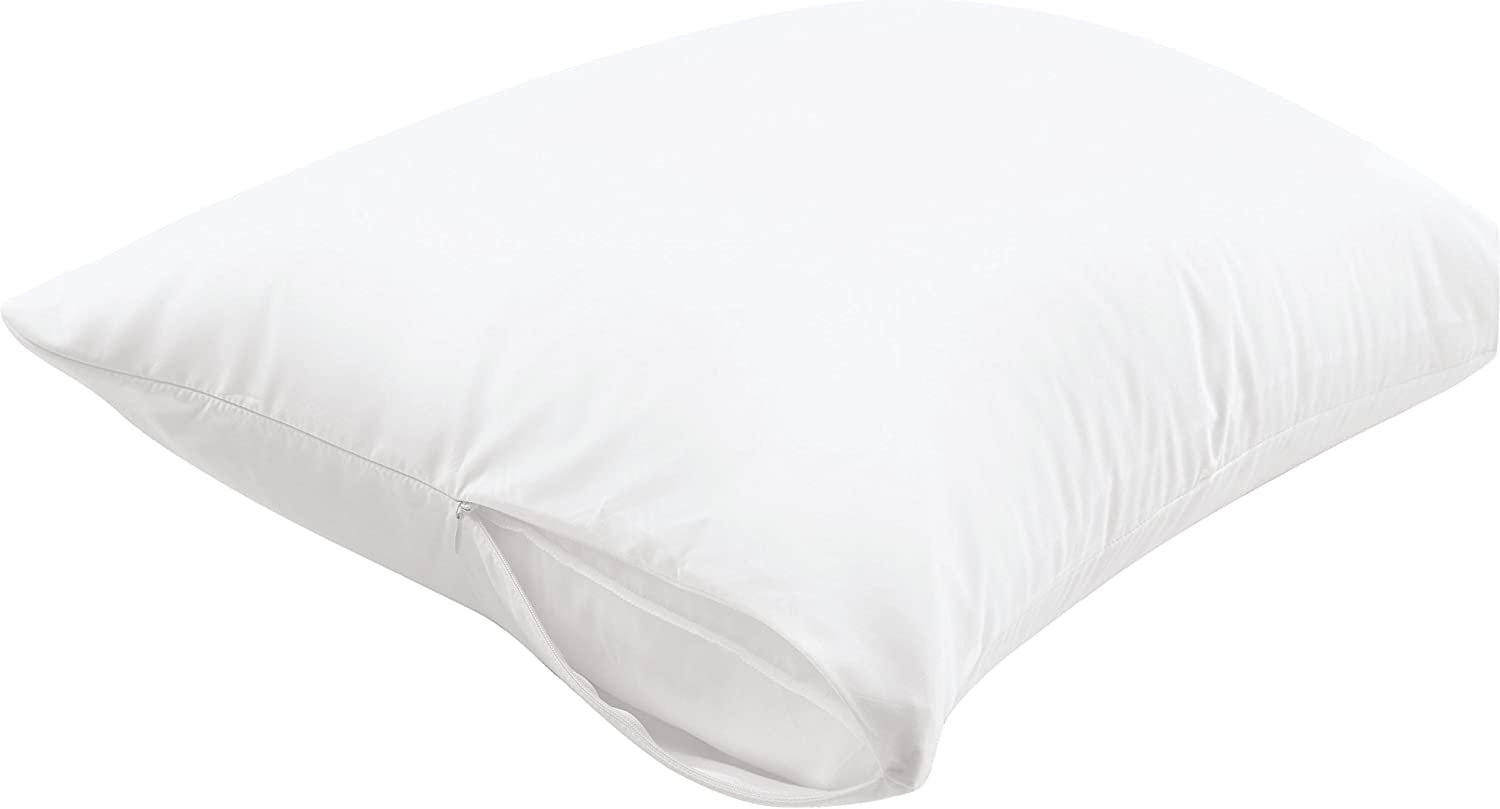 Aller-Ease Maximum Allergy Protector, Standard/Queen, 2-Pack – Hypoallergenic Pillow Cover, Zippered Design Prevents Collection of Bedbugs and Allergens, Machine Washable, 2 Pack, White: Home & Kitchen