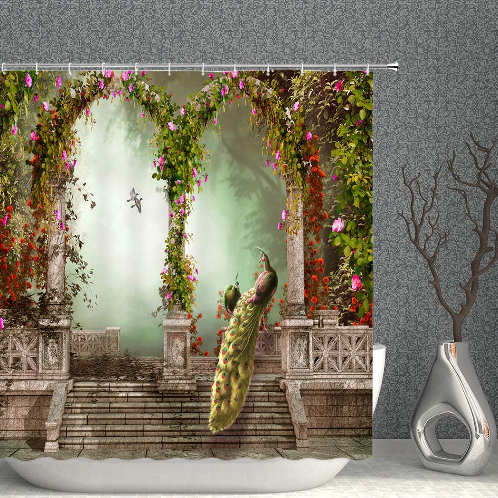 AMNYSF Peacock Decor Shower Curtain Fantasy Garden Arched Door Colorful Flowers Fabric Bathroom Curtains