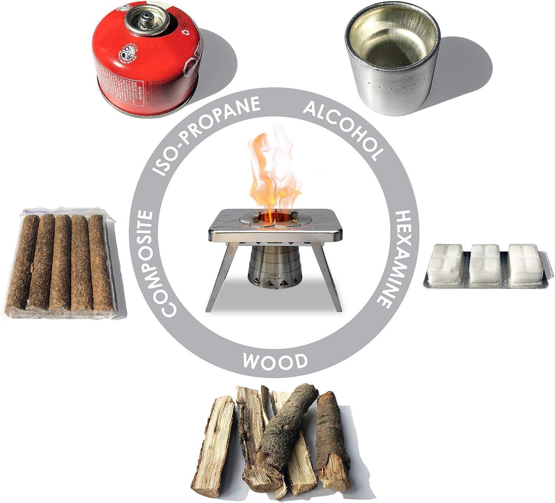 Estufa para acampar con quema de madera nCamp, portátil y compacta para mochileros.