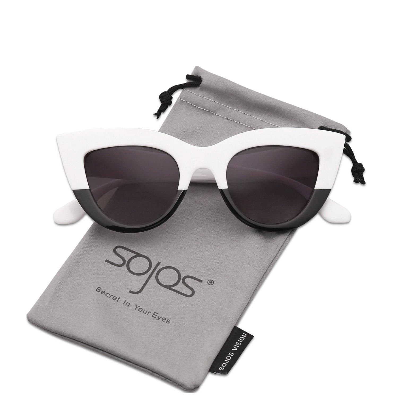 TL-Sunglasses Occhio di gatto Occhiali da sole donne personalità Vintage Occhiali da sole,Bianco Grigio