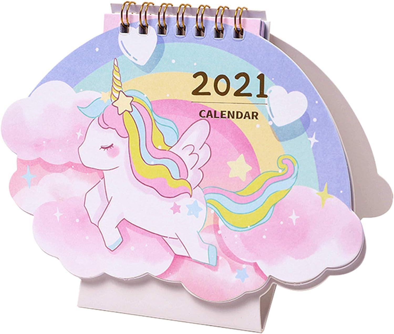 """2020-2021 Mini Desk Calendar New Year Desktop Monthly Calendar 6.5"""" x4.6"""" - Unicorn (October 2020 to December 2021)"""