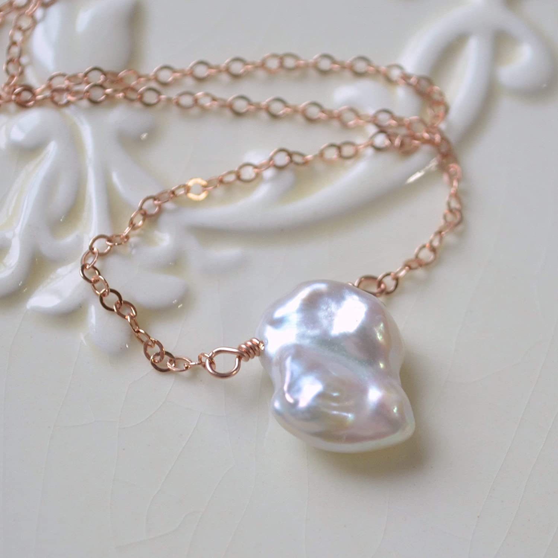 Amazon Com White Keshi Pearl Necklace Choose Your Metal Handmade