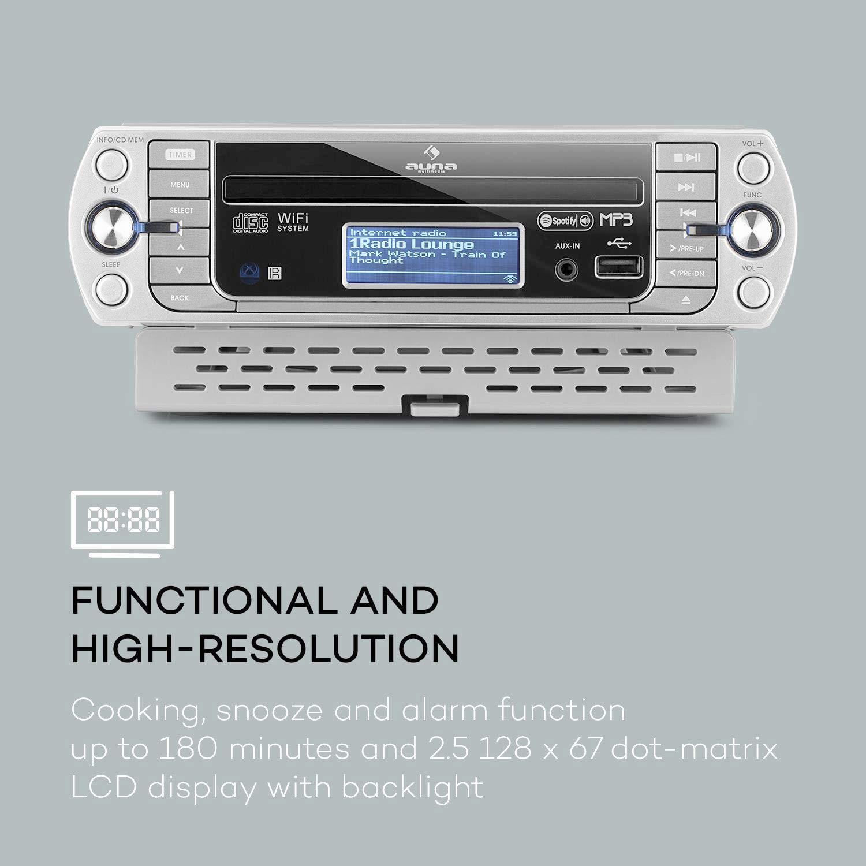 modern hellsilber Internet Radio, CD//MP3-Player, WiFi, AUX, USB, Spotify Connect, Network-Streaming, LCD-Display, Bedienung per App und Fernbedienung AUNA KR-500 CD Internetradio Unterbau-Radio