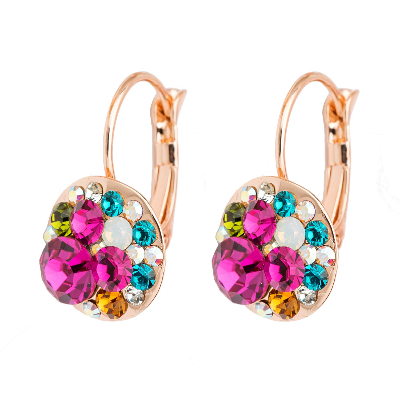 Multicolored Swarovski Crystal Earrings for Women Girls 14K Gold Plated Leverback Dangle Hoop Earrings EVEVIC