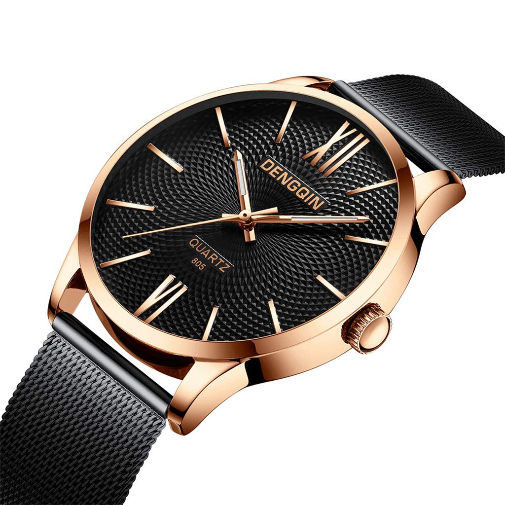Staron  Men's Watches Luxury Fashion Analog Casual Dress 12-Hour Dial Sport Military Quartz Stainless Steel Dial Wrist Watches for Men Milanese Mesh Band (C)
