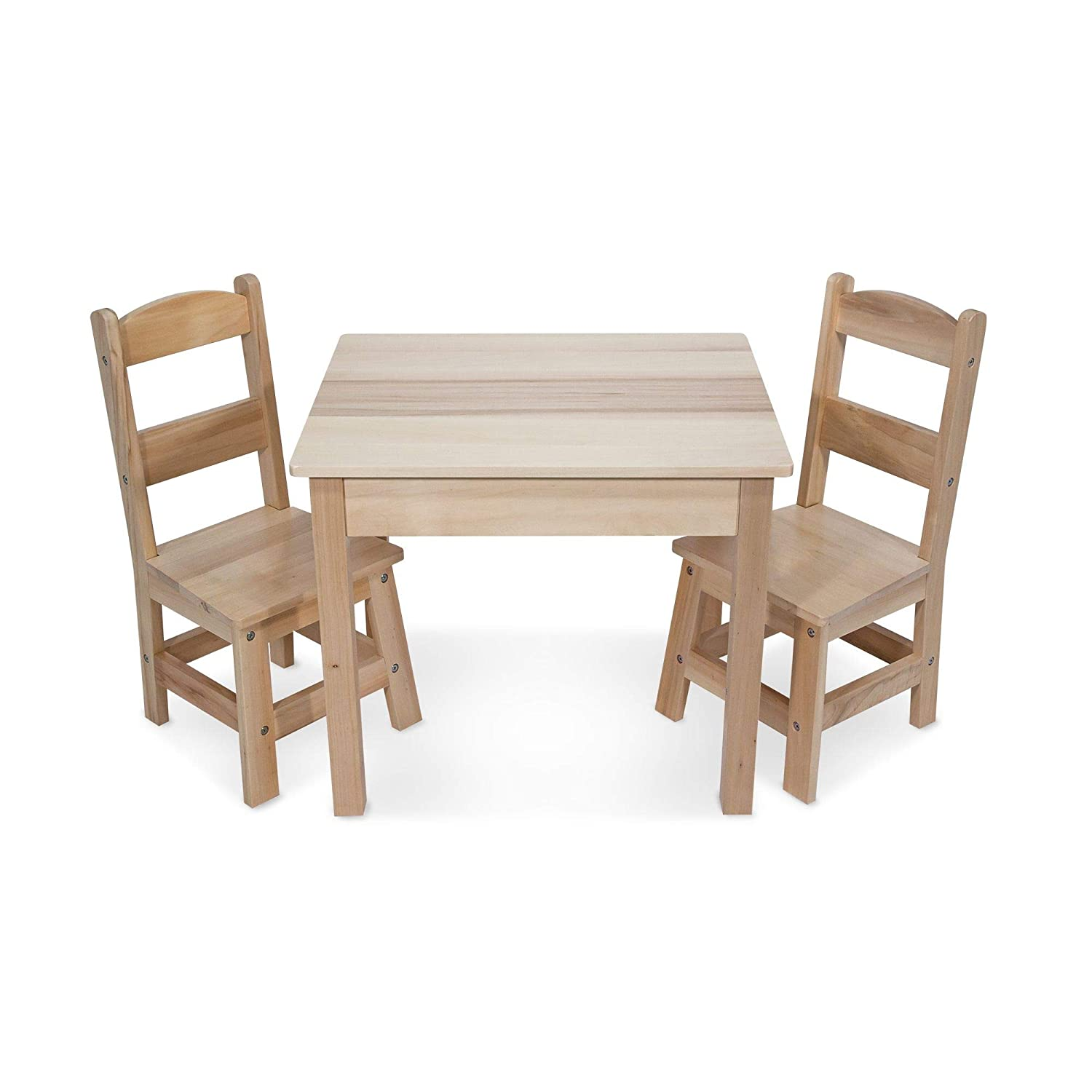 "Melissa & Doug Solid Wood Table & Chairs, Kids Furniture, Sturdy Wooden Furniture, 3-Piece Set, 20"" H x 23.5"" W x 20.5"" L"