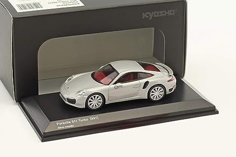 Kyosho 1/64 Porsche 911 Turbo 991 de plata KS07048A15