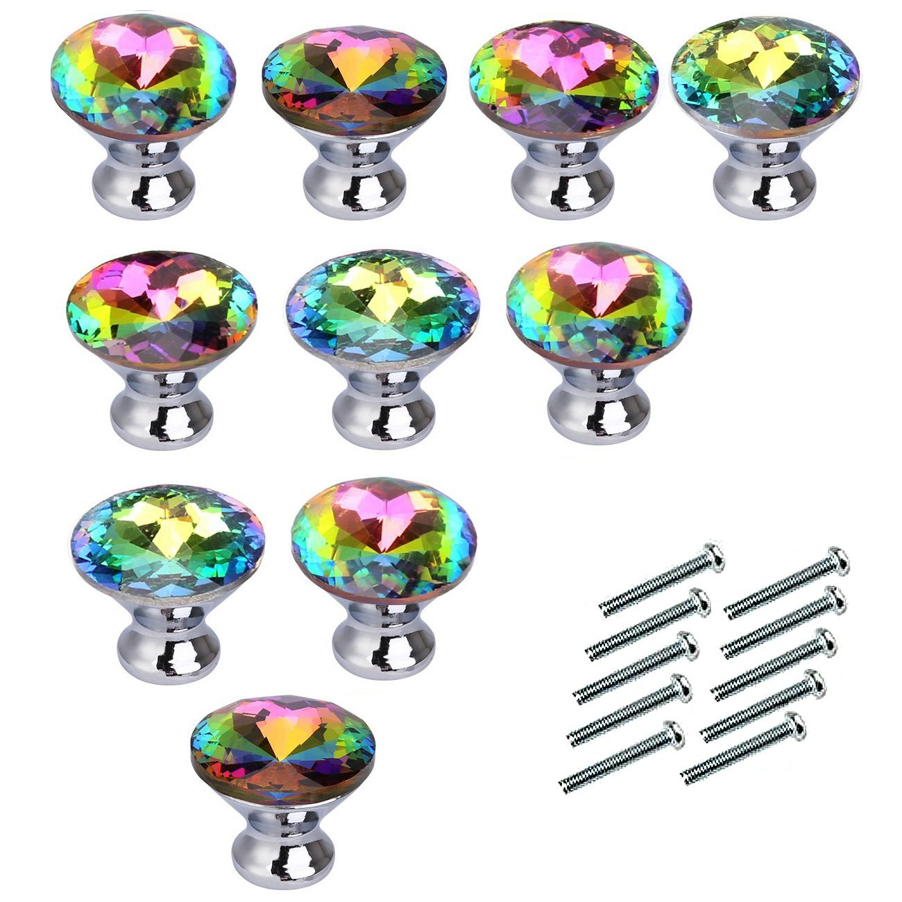 DASTAR™ Colorful Crystal Glass Cupboard Wardrobe Cabinet Drawer Knob Door Pull Handles-Pack of 10 by Generic