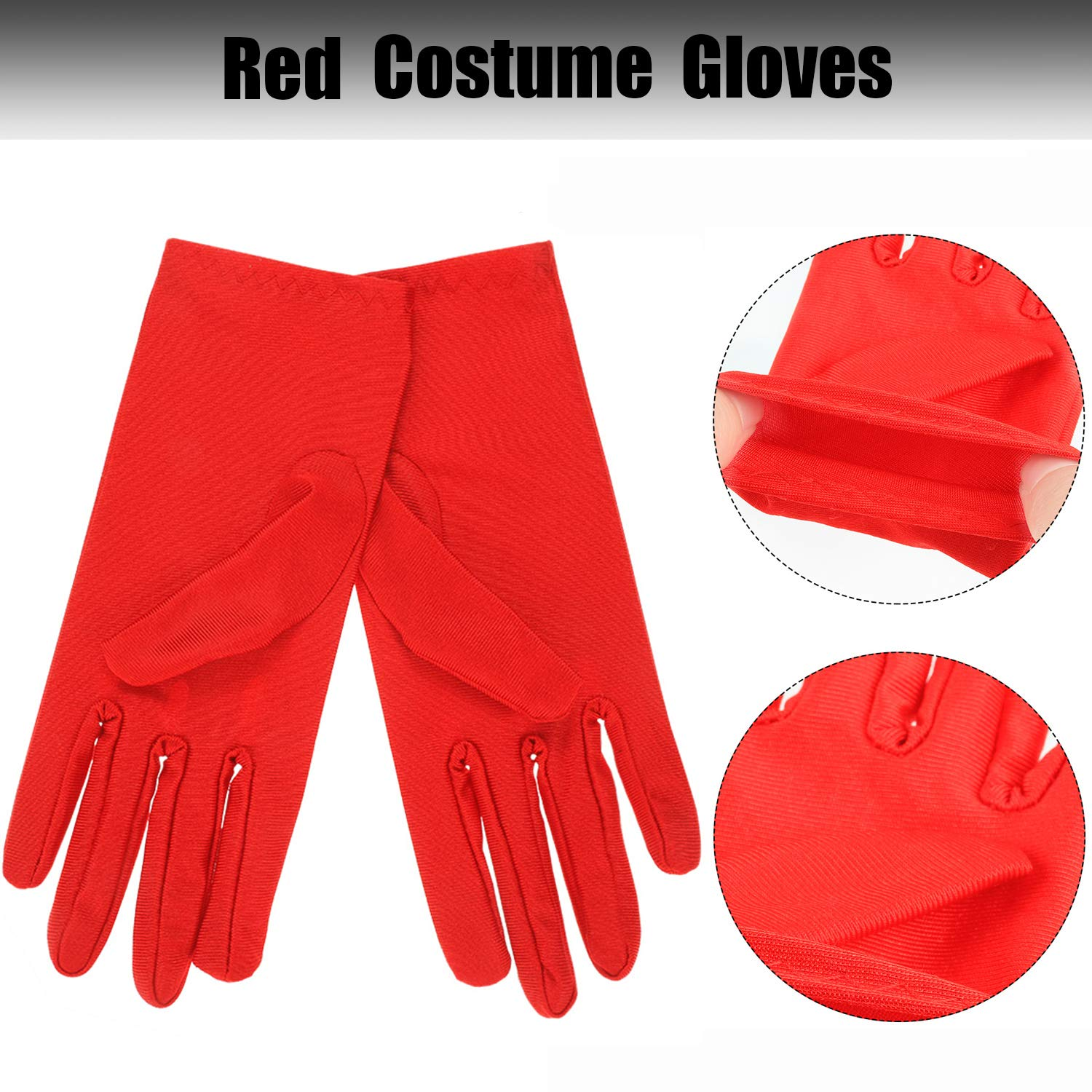 2 Pieces Felt Eye Masks with Elastic Rope and 2 Pairs Costume Gloves for Kids Halloween Cosplay Party