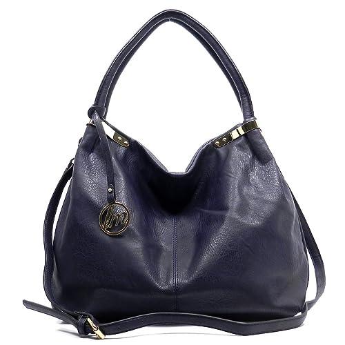 7ba7ec2484cb Amazon.com  Lm Fashion Shoulder Bag Hobo Satchel Handbag Womens Purse (Navy  Blue)  Shoes