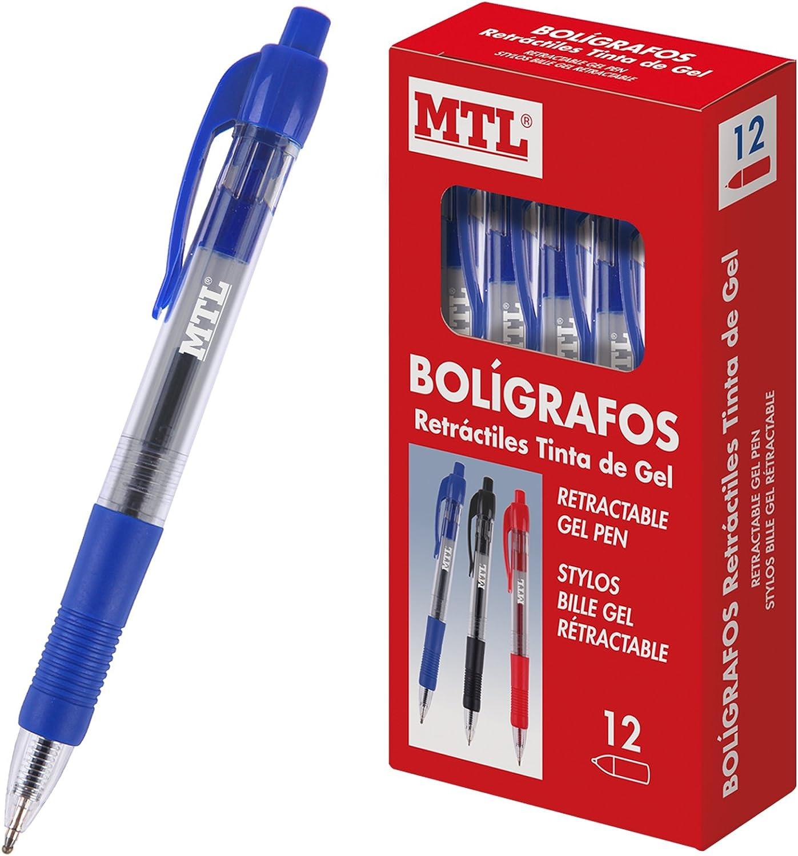 MTL 79596 - Caja de bolígrafos, tinta gel retráctil, 0.7 mm, 12 unidades: Amazon.es: Oficina y papelería