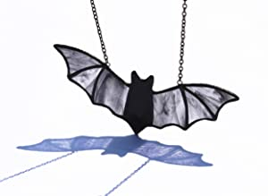 HAOSUM Stained Glass Bat Window Hanging Thanksgiving Decorations Suncatcher for Window 7.1×3.0 inch