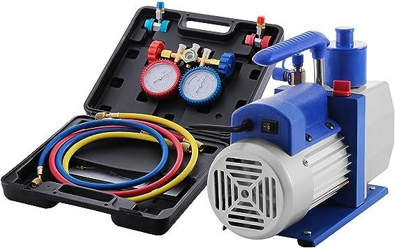 Dual Gauge A//C Diagnostic Manifold Tester Set 4.8CFM 1//3HP Vacuum Pump KIT