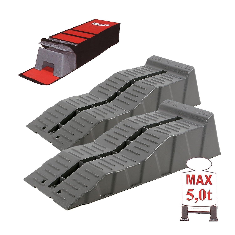 Fiamma Set di 2 cunei di livellamento e di stazionamento, fino a 5000 kg, 58 x 6/11 x 14 cm, per roulotte/camper fino a 5000kg 58x 6/11x 14cm