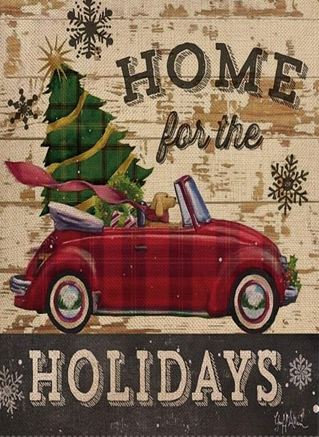 Selmad Home for The Holidays Decorative Vintage Christmas Garden Flag Red Car Double Sided, Rustic Xmas Quote House Yard Flag Dog, Winter Yard Decorations, New Year Seasonal Outdoor Flag 12 x 18