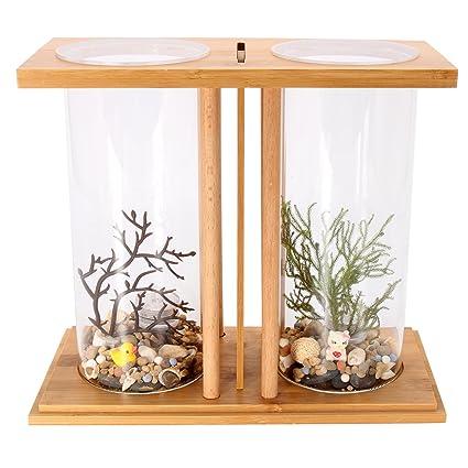 dDanke Kit de acuario de 360 grados para peces con jarrón de cristal dual y estante de bambú para peces Betta y peces dorados: Amazon.es: Productos para ...
