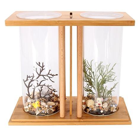 dDanke Kit de acuario de 360 grados para peces con jarrón de cristal dual y estante