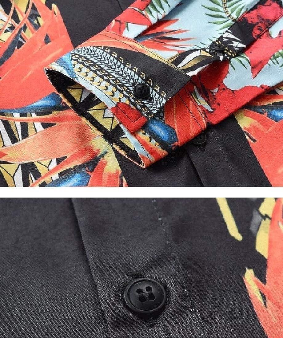 Keaac Mens Business Long Sleeve Luxury Slim Fit Design Print Dress Shirt