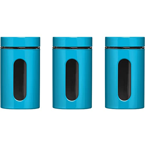 Premier Housewares Set of 3 Turquoise Blue Storage Canisters
