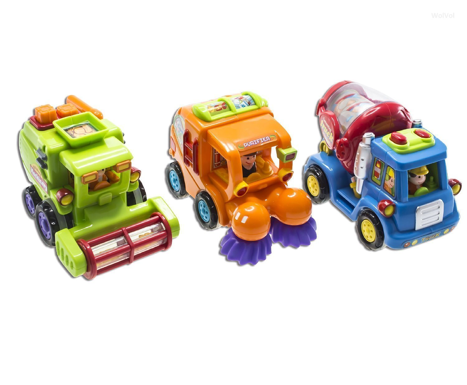 WolVol (Set of 3) Push and Go Friction Powered Car Toys for Boys - Street Sweeper Truck, Cement Mixer Truck, Harvester Toy Truck (Cars Have Automatic Functions) by WolVol (Image #6)
