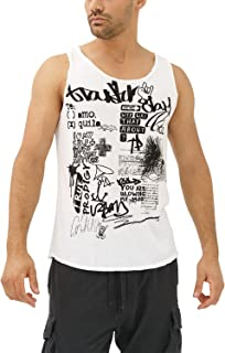 trueprodigy Casual Mens Clothes Funny and Cool Designer Tank Top Muscle Shirt for Men with Design Crew Neck Slim Fit Sleeveless White Sale