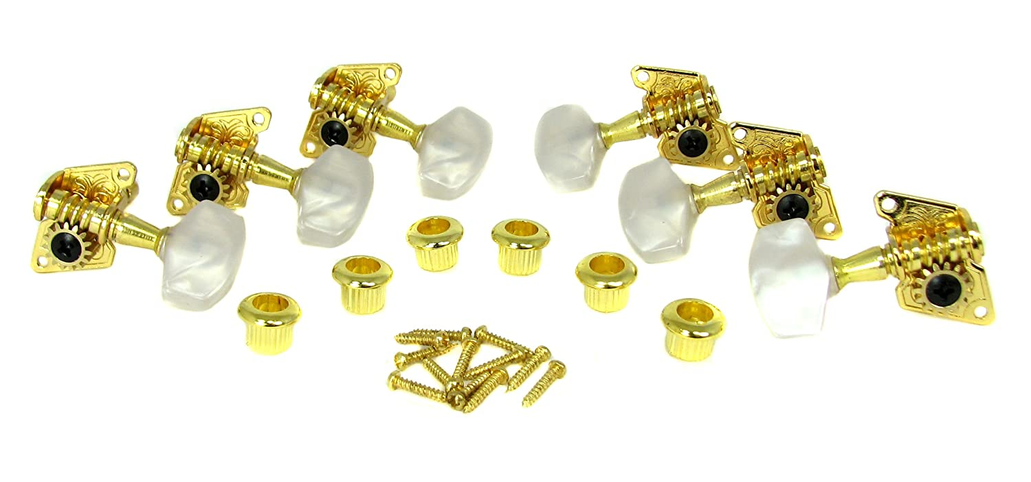 Gold Open-Gear Acoustic Guitar Tuners/Machine Heads - 6pc. 3 Left / 3 Right C. B. Gitty Crafter Supply 31-077-01