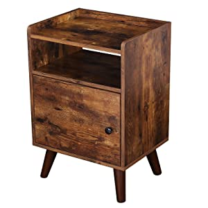 HOOBRO End Table, 3-Tier Nightstand with Door, Side Table for Small Spaces, Wood Look Accent Table, Stable and Sturdy Construction, Rustic Brown