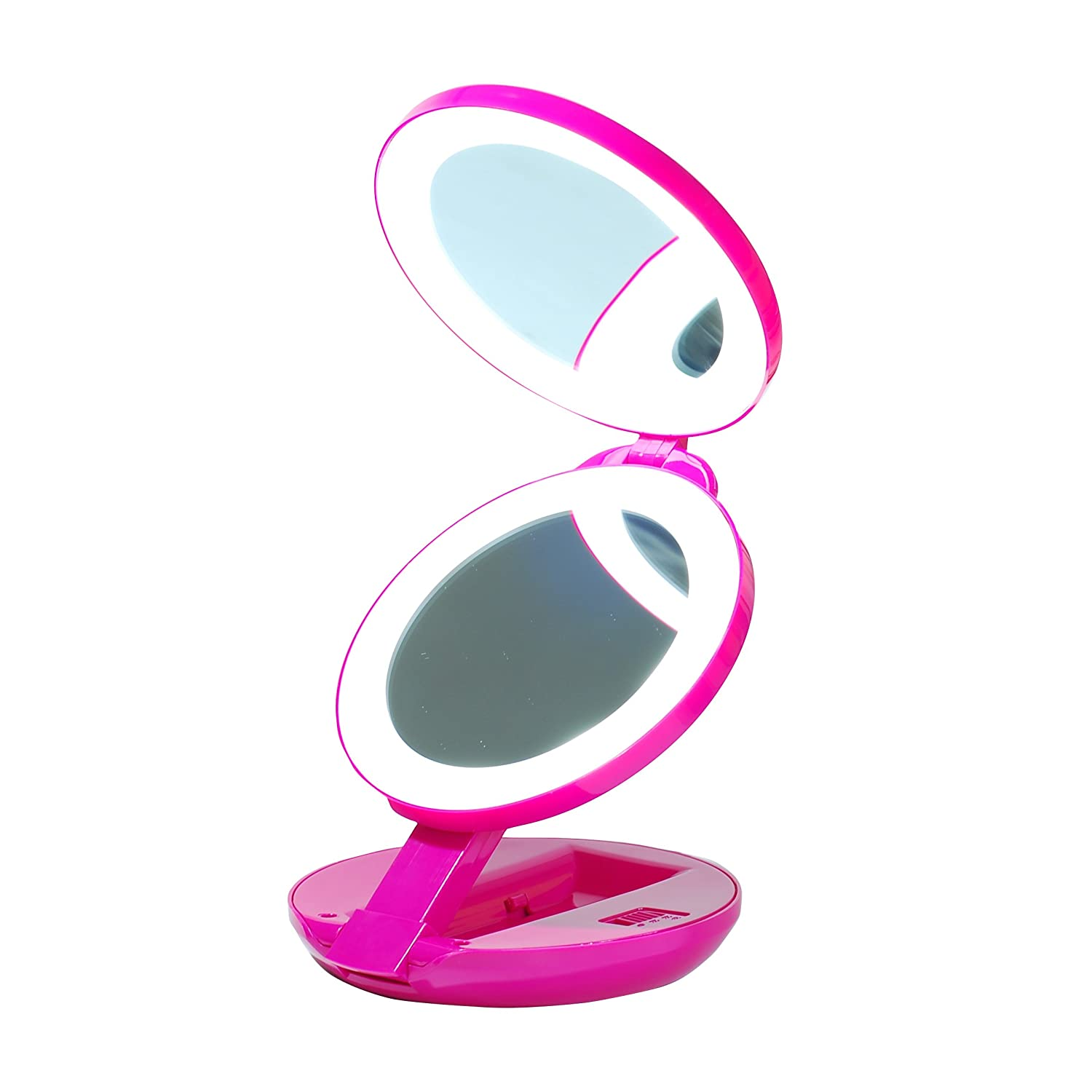 LED Lighted Travel Makeup Magnifying Mirror,Magnifies 10x and 1x, Luxury Double Side and Folding Pocket Vanity/Cosmetic Mirror (Pink) V & H Home Supplies