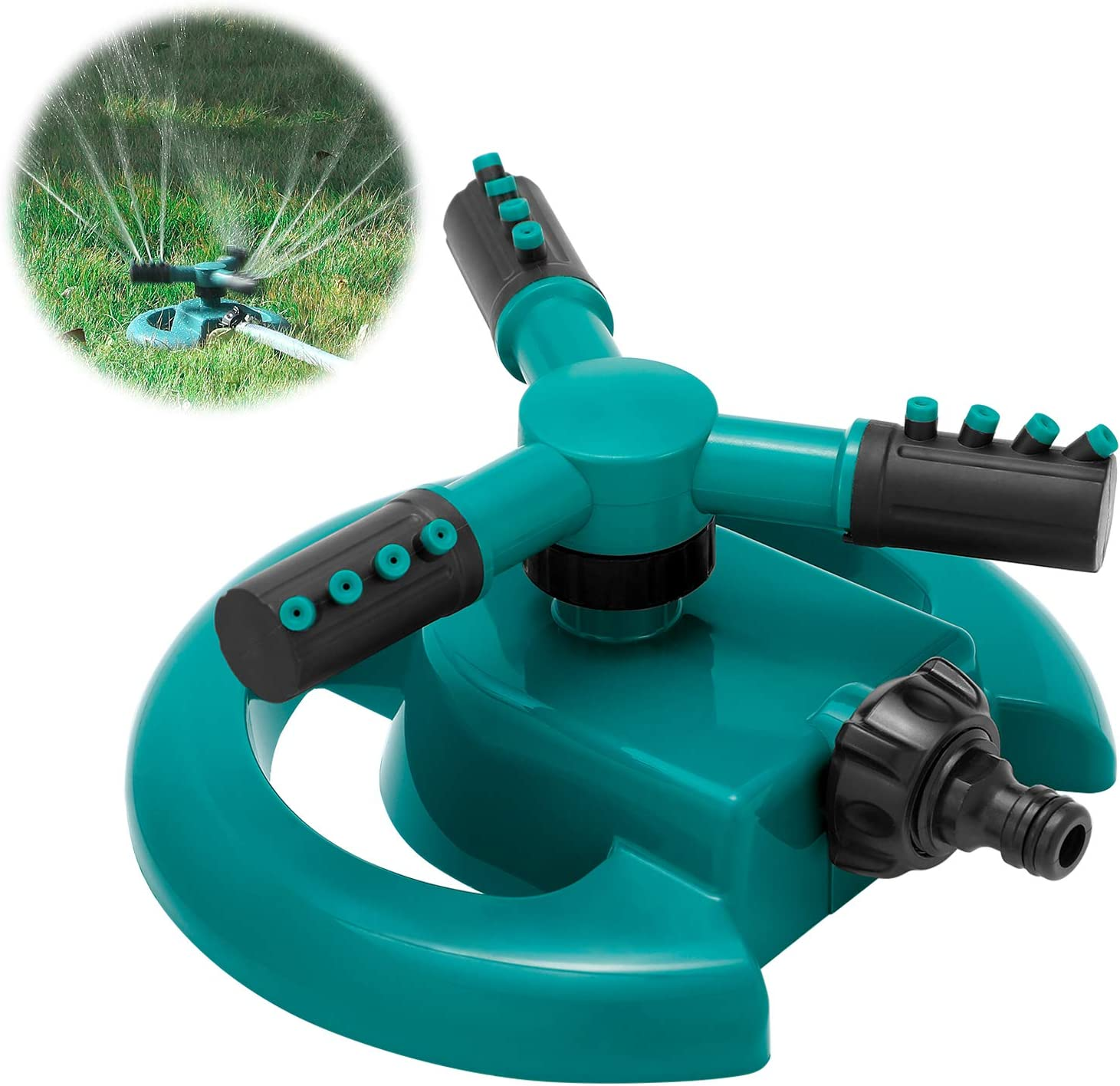 HTLY SPR Garden Sprinkler, Automatic Lawn Sprinkler 360 Degree Rotating 3 Arms Adjustable WAS £9.99 NOW £4.49 with single use codes @ Amazon