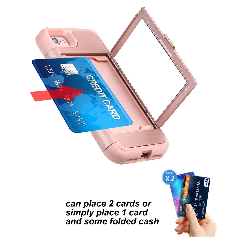 5,5/pulgadas, iPhone 6/Plus funda iPhone 6/Plus caso Solomo espejo y titular de la tarjeta para dise/ño de la carcasa de cartera con Ocultos Heavy Duty protecci/ón a prueba de golpes Armor carcasa para Apple Iphone 8/Plus
