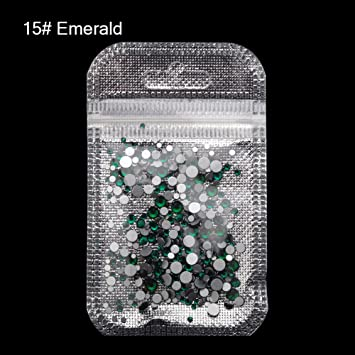 MIOBLET 300 Piece Mix Size SS3-SS20 Crystal Nail Rhinestones Top Grade  Emerald Nail Gems feaa47f39b08