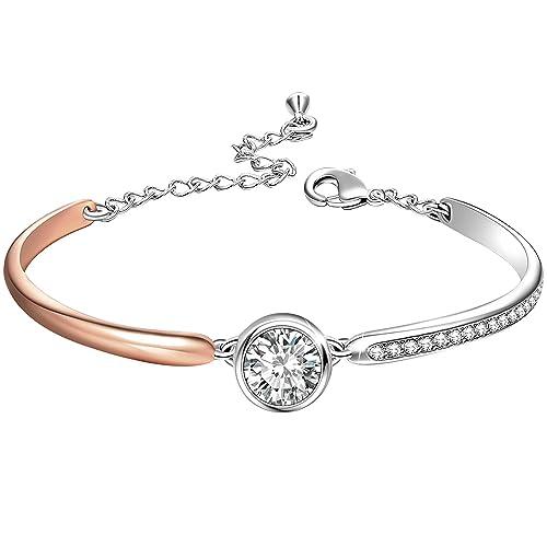 1869513eaa30 Angelady Pulseras ajustables para mujer Pulsera con brazalete de oro rosa  Cristal de Swarovski