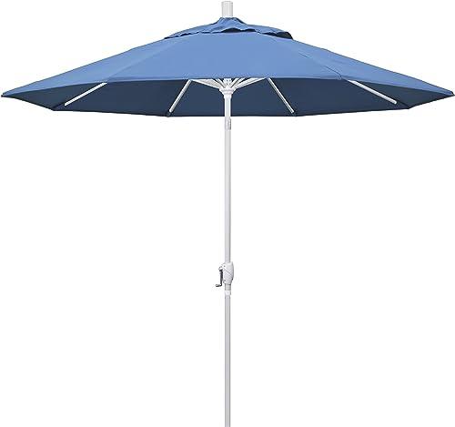 California Umbrella 9 Round Aluminum Market Umbrella, Crank Lift, Push Button Tilt, White Pole, Forest Blue Olefin