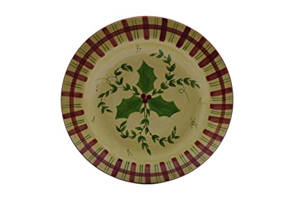 Amazoncom Laurie Gates Pottery Holly Red Green Plaid 95 Salad