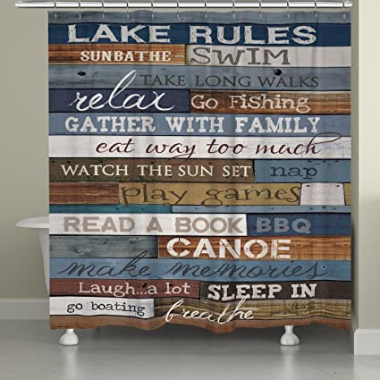 Image Unavailable Not Available For Color Laural Home Lake Rules Shower Curtain