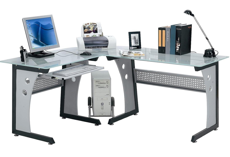 Eck computertisch glas  OFFICE Desk Computertisch Eck-Schreibtisch Tisch - Glas Büro ...