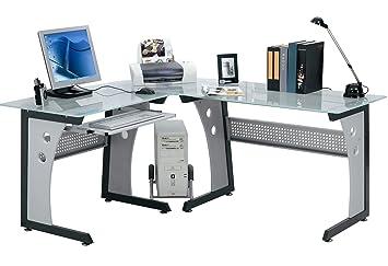 Eck computertisch  OFFICE Desk Computertisch Eck-Schreibtisch Tisch - Glas Büro ...