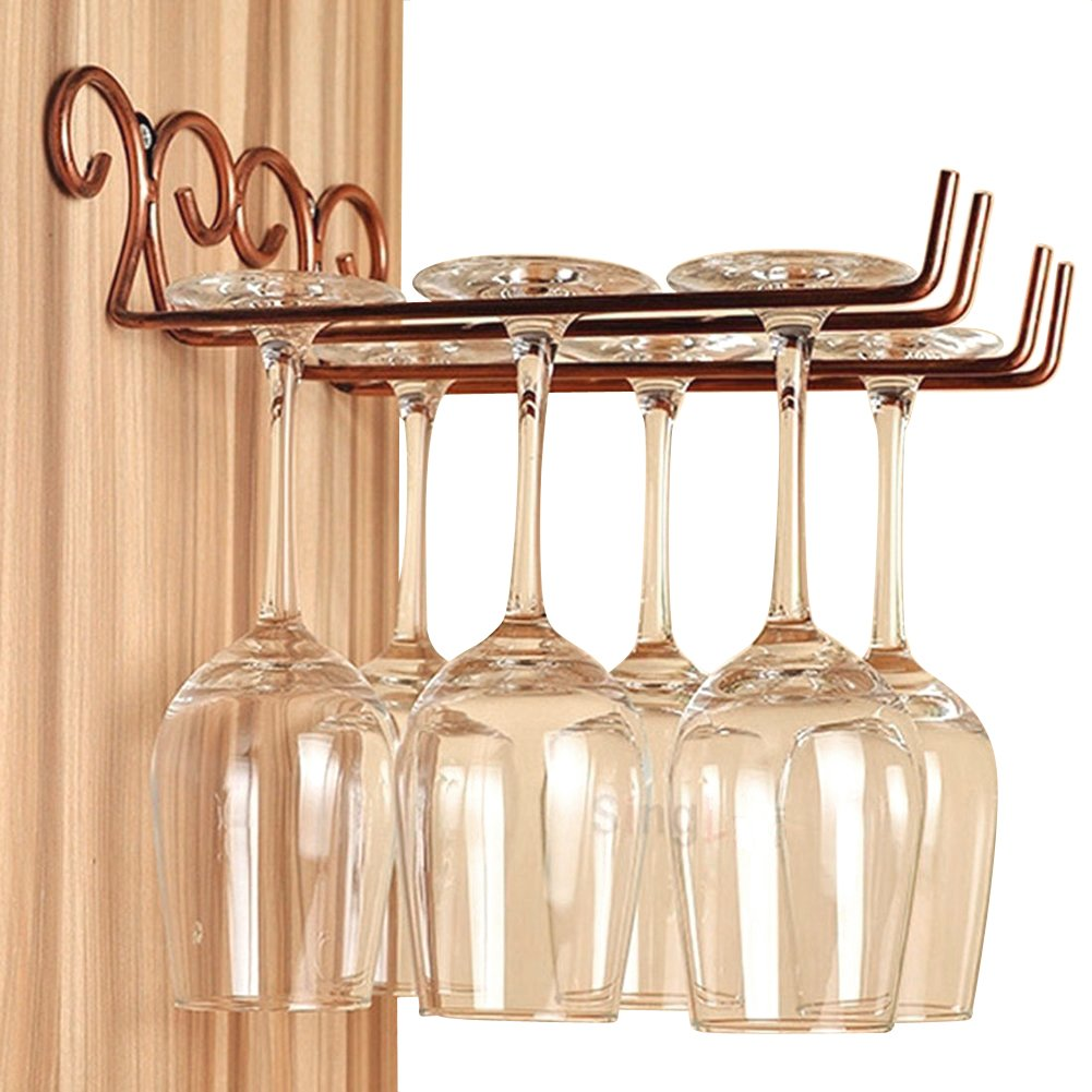 DBYAN Vintage Style Bronze Wine Glass Rack, 2 Rows Stainless Steel Wall-Mounted Stemware Hanging Wine Glass Hanger Holder For Bar Home Cafe