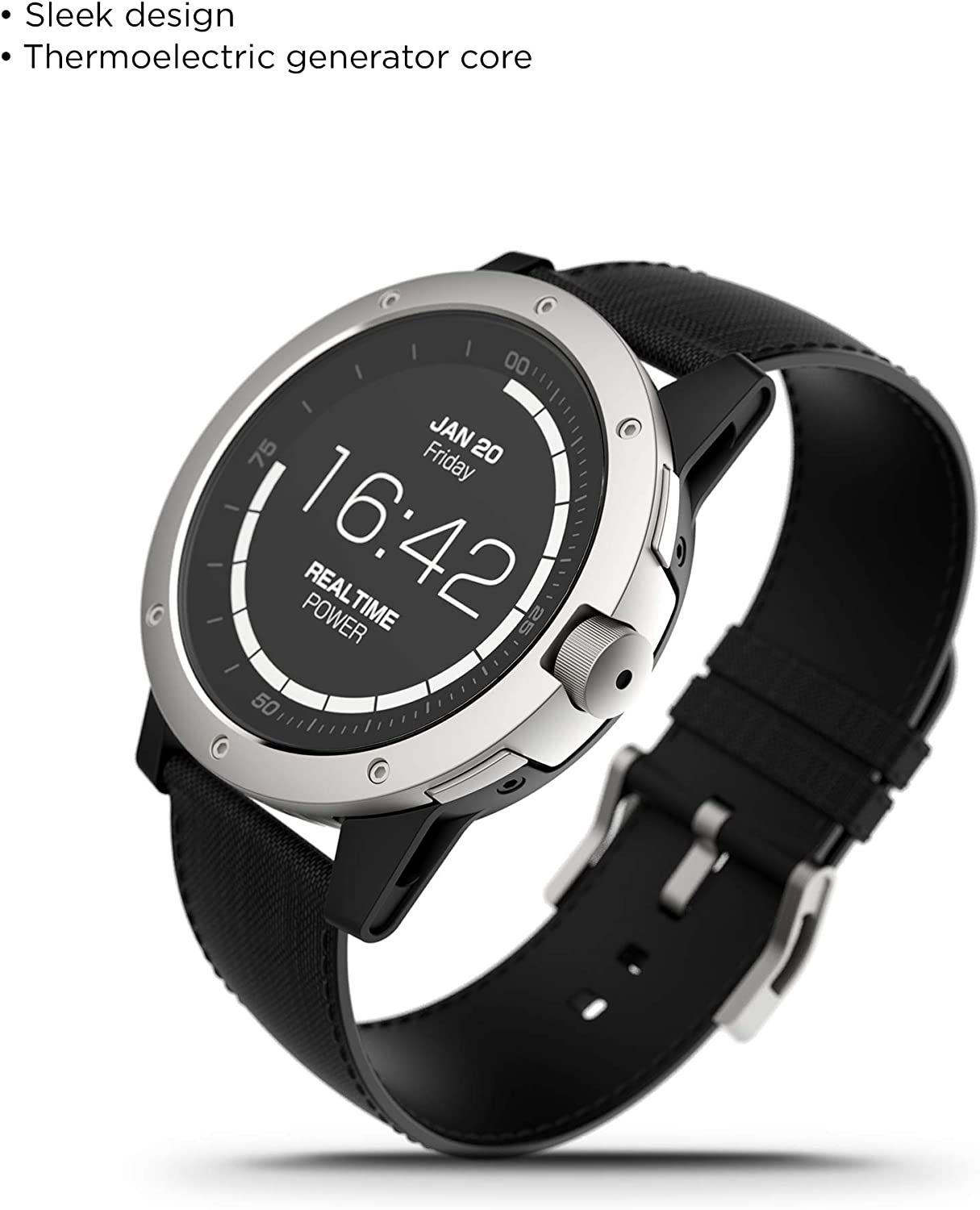 Matrix PowerWatch, Body Heat Powered Fitness Tracker Smart Watch, 50M Dive, Calorie and Step Count, iPhone/Samsung Compatible