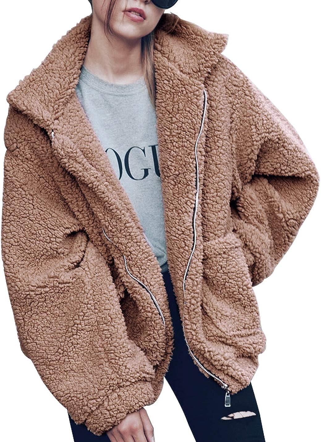Womens Coats and Jackets Raglan Long Sleeve Oversized Cardigan Coat Color Block Shaggy Hooded Warm Long Ladies Coat
