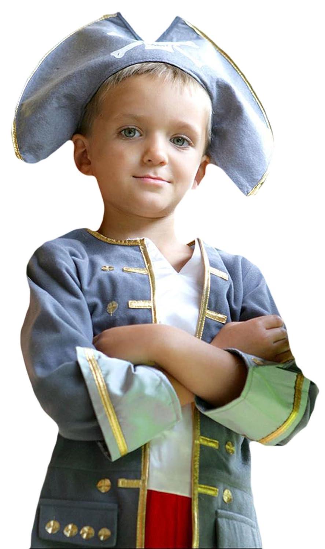 Erdbeerloft - Jungen Karneval Komplett Kostüm Piraten Kapitän , Grau, Größe 116-128, 6-8 Jahre