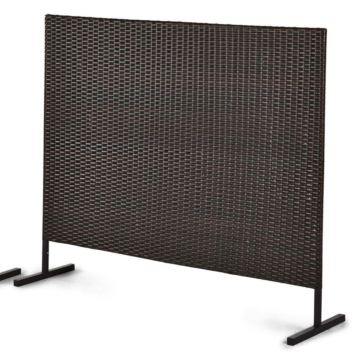 Stellwand Sichtschutz Terrasse Kunstrattan braun schwarz 150 x 4 5