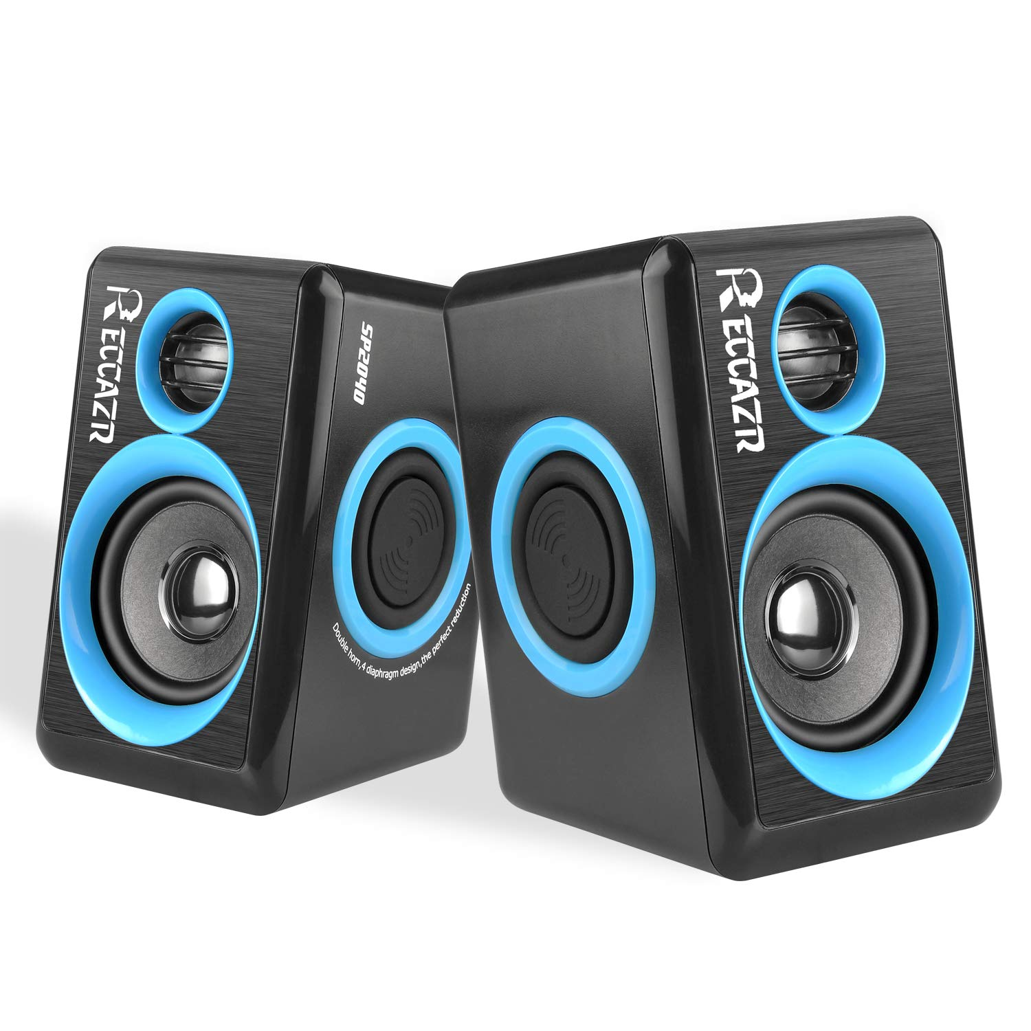 Surround Computer Speakers with Deep Bass USB Wired Powered Multimedia Speaker for PC/Laptops/Smart Phone RECCAZR Built-in Four Loudspeaker Diaphragm