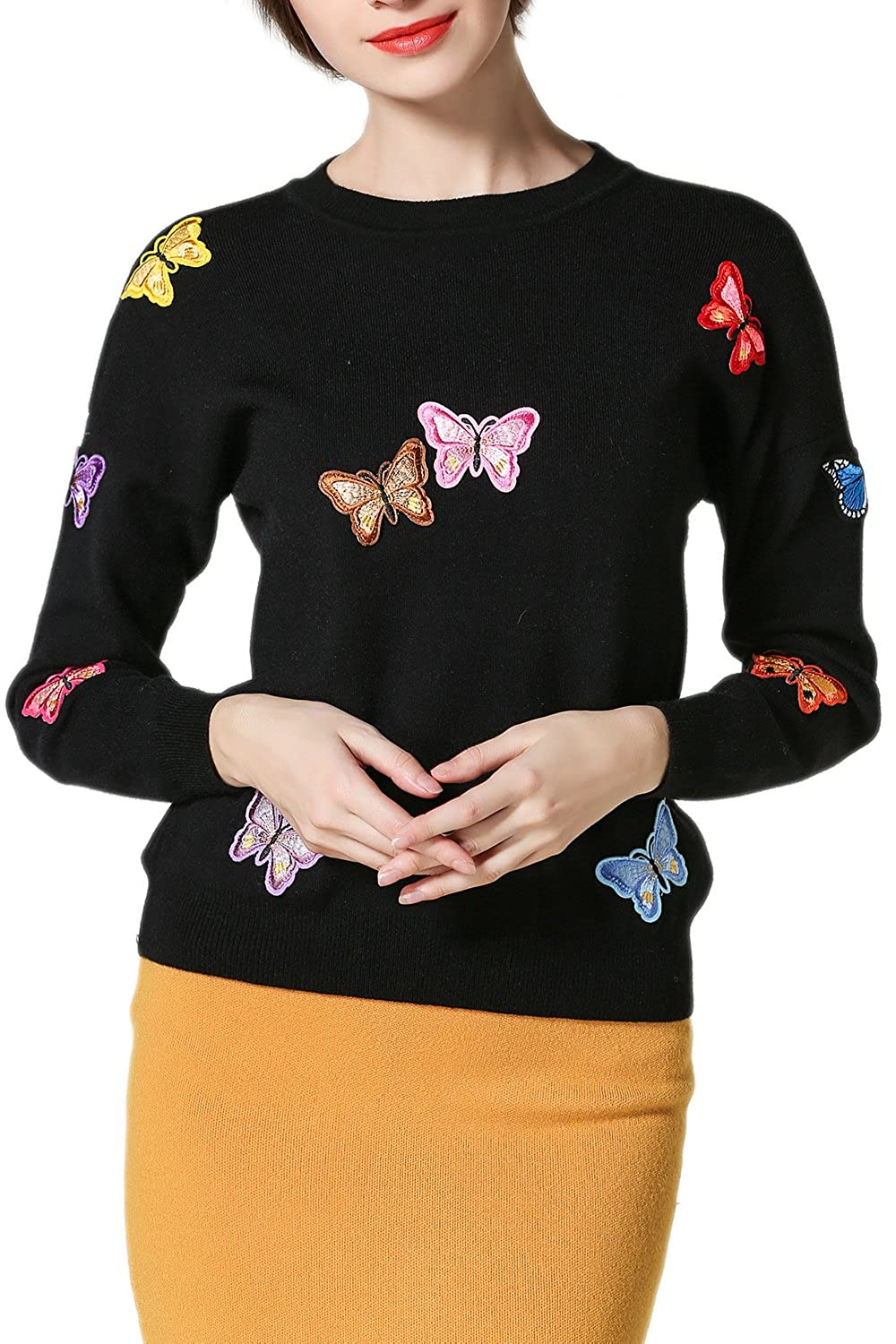 Women's Long Sleeve Butterfly Embroidery Pullover Sweater