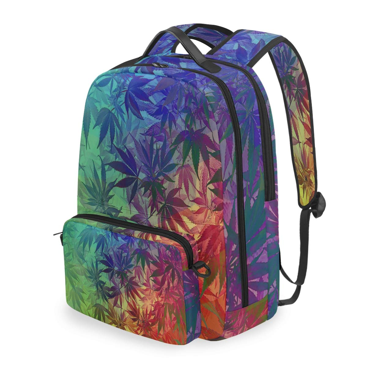 MAHU Backpack Rainbow Cannabis Hemp Leaves Detachable College Bag Travel Zipper Bookbag Hiking Shoulder Crossbody Bag Daypack for Women Men