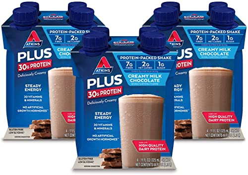 Atkins PLUS Protein-Packed Shake. Creamy Milk Chocolate with 30 Grams of High-Quality Protein. Keto-Friendly and Gluten Free. 12 Shakes
